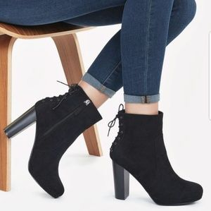 Justfab Miracai black heel booties with laces